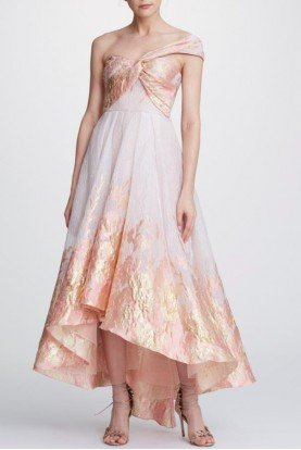 One Shoulder Hi Lo Blush Midi Dress