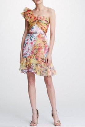 Marchesa Notte One Shoulder Organza Colorful Cocktail Dress
