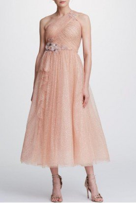 One Shoulder Rose Gold Glitter Tulle Midi Dress