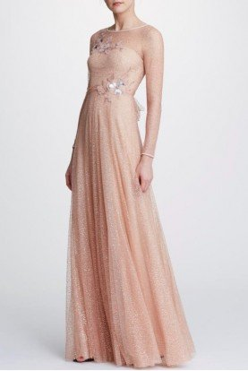 Marchesa Notte Long Sleeve Glitter Rose Gold Tulle Gown