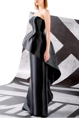 John Paul Ataker Black Acetate Taffeta Dress