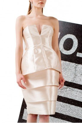 John Paul Ataker Strapless Cream Taffeta Layered Dress