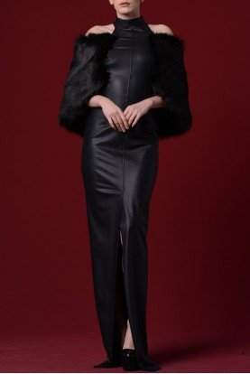 Black Faux Fur Sleeves Leatherette Dress