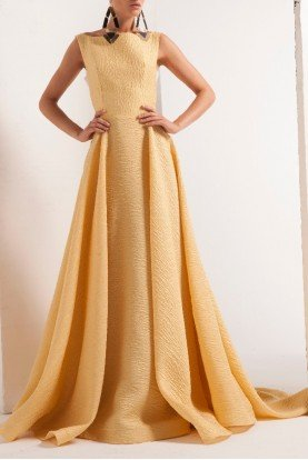 Yellow Sleeveless Pleated A Line Dress