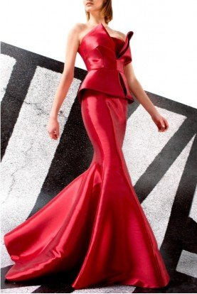 John Paul Ataker Crimson Red Strapless Peplum Detail Mermaid Gown