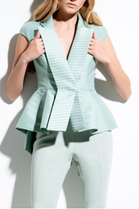 John Paul Ataker Peplum Detail Pin Striped Plain Taffeta Jacket