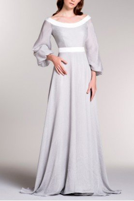 John Paul Ataker Gray Bishop Sleeve Sheer Mesh Gown