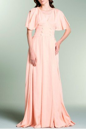 Salmon Double Breasted Viscose Satin Dress