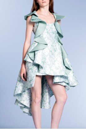 Ruffled Taffeta Floral Jacquard High Low Dress