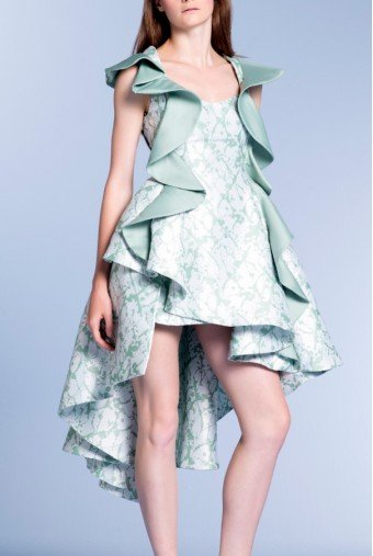 John Paul Ataker Ruffled Taffeta Floral Jacquard High Low Dress