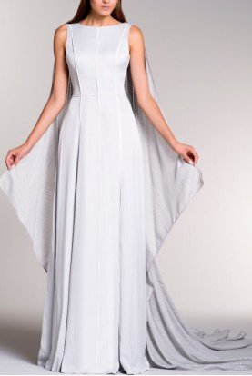 Gray Viscose Trimmed Low Back Dress with Cape