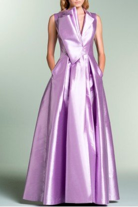 Lavender Pleated Collar Acetate Ball Gown