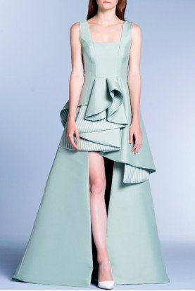 Mint Green High Low Pin Stripped Taffeta Gown
