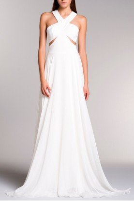 White Halter Cut Out Viscose Sheer Mesh Drape Gown