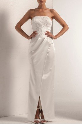 White Strapless Embroidered Stretch Satin Dress