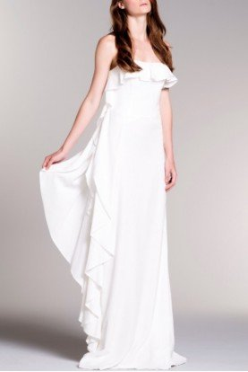 White Drape Ruffled Jacquard Goddess Dress