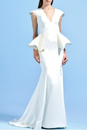 John Paul Ataker White Taffeta Structured Faille Mermaid Dress