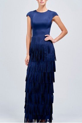 Navy Laser Cut Fringe Detailed Faille Long Dress