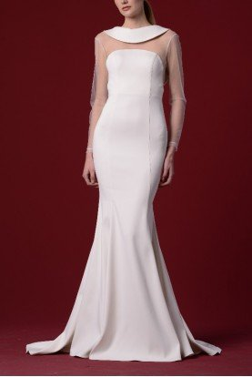 White Double Faced Viscose Satin Mermaid Dress
