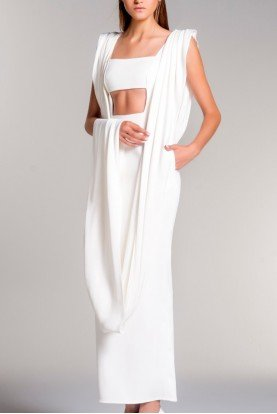 Draped Viscose Satin Double Faced White Gown