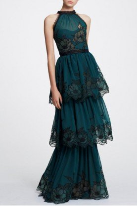 Green Sleeveless Tiered Evening Gown N30G0836