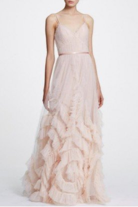 Marchesa Notte Blush Sleeveless Textured Tulle Gown N30G0839