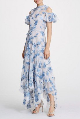 Ivory Cold Shoulder 3D Floral Gown  N30G0873