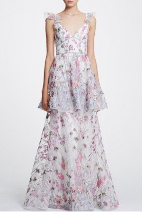 Marchesa Notte Floral Embroidered Tiered Gown   N29G0834
