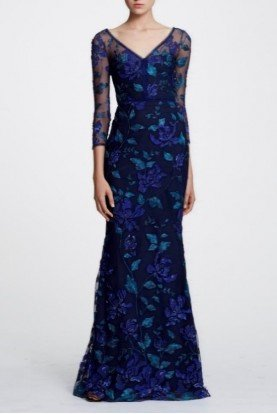 Floral Mid Length Sleeve Evening Gown N29G0879