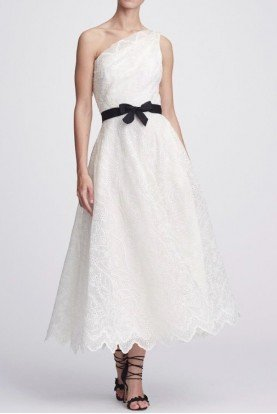 Marchesa White One Shoulder Midi Dress w belt M24906