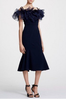 Navy Off Shoulder Ruffle Crepe Midi Dress
