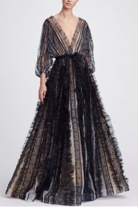 Marchesa Plunging V Neck Black Lace Evening Gown M24801