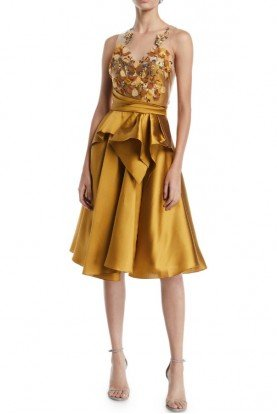 Sleeveless A Line Mikado Gold Party Dress N25C0634