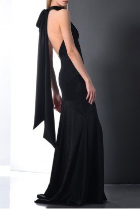 Sleeveless Halter Neck Evening Gown Open Back