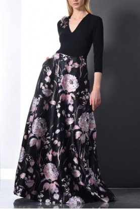 Long Sleeve Floral A Line Black Evening Gown