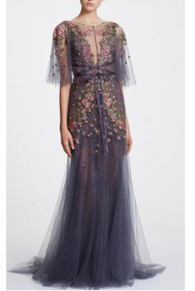 Sleeveless Illusion V Neck Tulle Gown w Capelet