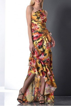 One Shoulder High Low Floral Gown