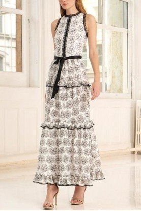 ML Monique Lhuillier Sleeveless White Floral Lace Midi Dress