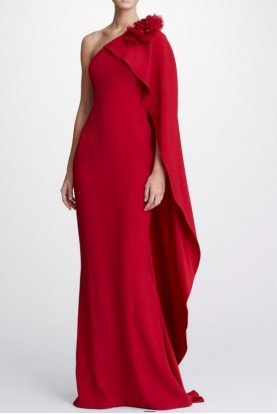 Marchesa Scarlet Red One Shoulder Crepe Gown M26800