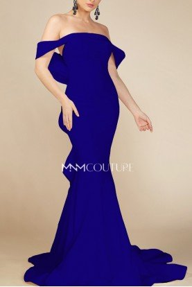 Blue Off the Shoulder Fitted Evening Gown