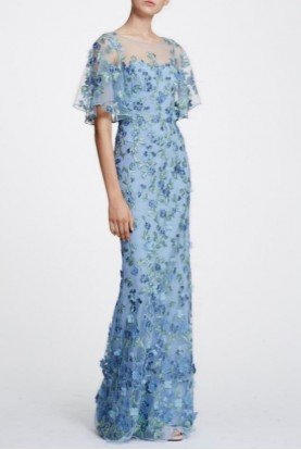 Light Blue Cape Sleeve 3D Floral Gown N30G0843