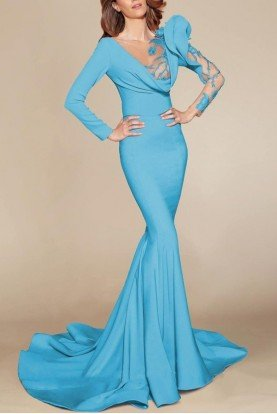 Turquoise Long Sleeve Trumpet Gown MNM 2404