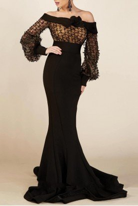 Black Off Shoulder Ribbon Mermaid Gown MNM S0006