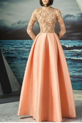 Floral Embroidered Peach Ball Gown MNM G0814