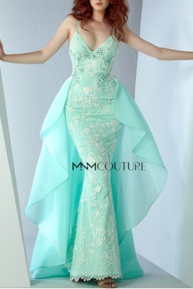 Sleeveless Aqua Evening Mermaid Gown MNM G0836