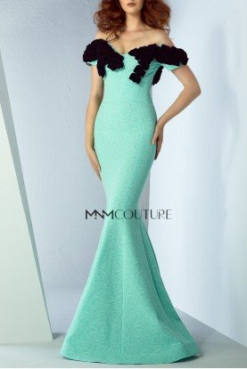 Green Off Shoulder Illusion Mermaid Gown MNM G0854