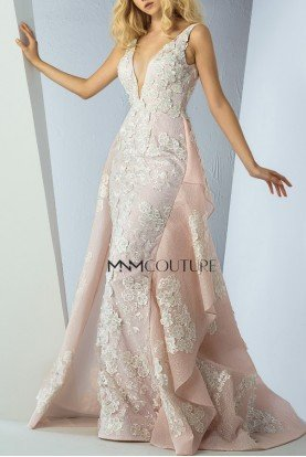Pink Floral Embroidered Sleeveless Gown MNM G0861