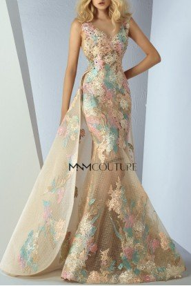 Gold Floral Sleeveles Mermaid Gown MNM G0863