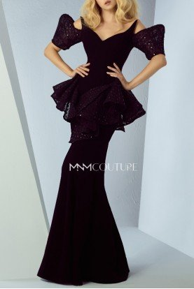 Black Illusion VNeck Peplum Evening Gown MNMG0877