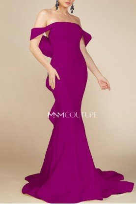 Purple Off the Shoulder Mermaid Gown MNM N0145